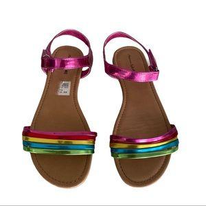 Girls Metallic 🌈 Rainbow Sandals